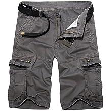 LANBAOSI Men's Cotton Cargo Shorts Tactical Multi Pockets Short Lightweight