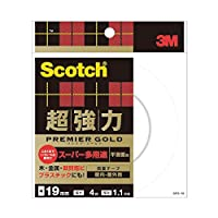 3M スコッチ 超強力両面テープ プレミアゴールド (スーパー多用途) 19mm×4m SPS-19 1巻 (×4セット)