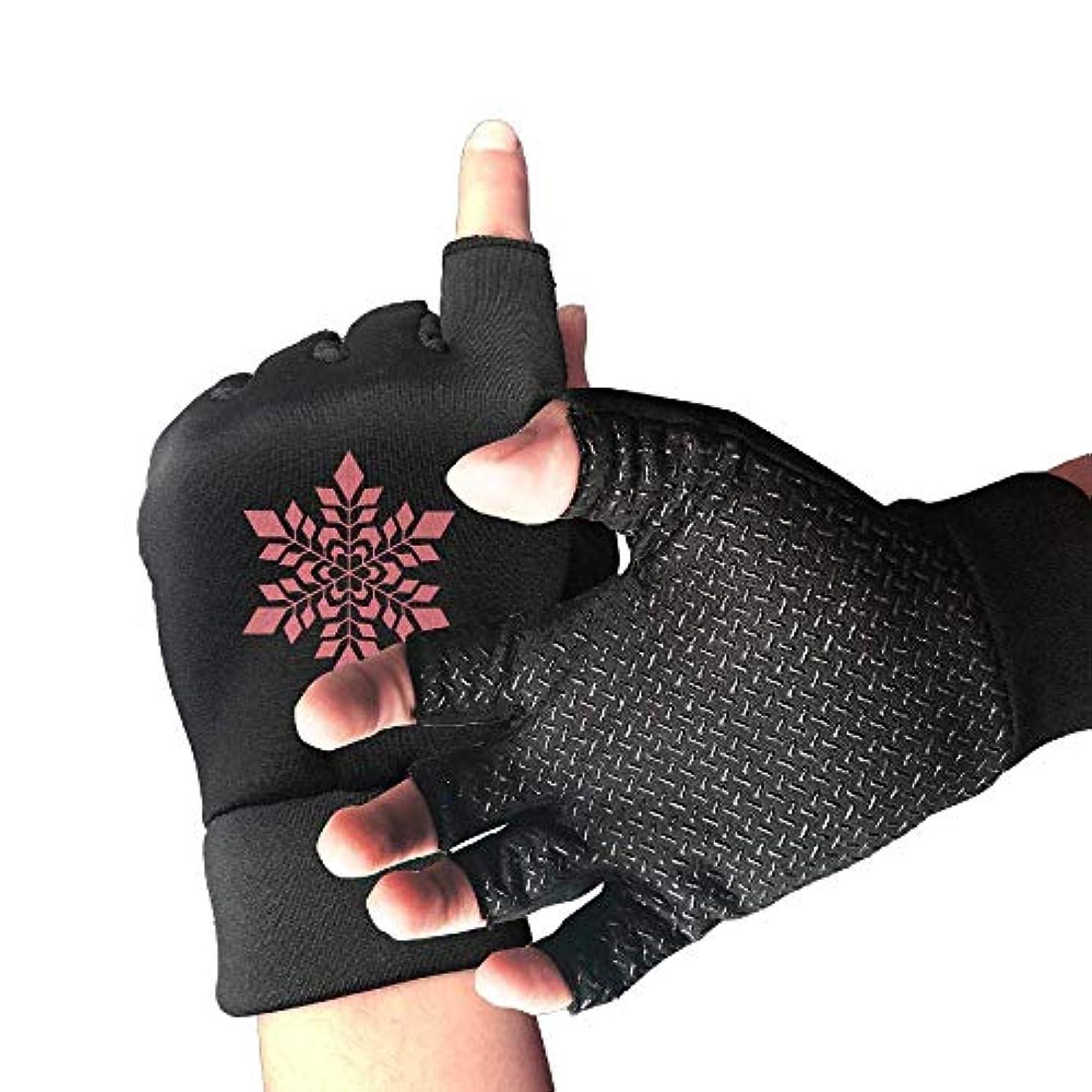 甘くする決定免疫するCycling Gloves Red Snowflake Men's/Women's Mountain Bike Gloves Half Finger Anti-Slip Motorcycle Gloves