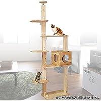 杉にゃん 天然木製 キャットタワー 突っ張り型 リプレ シングルタワーBS2BOX1 235-239.9cm