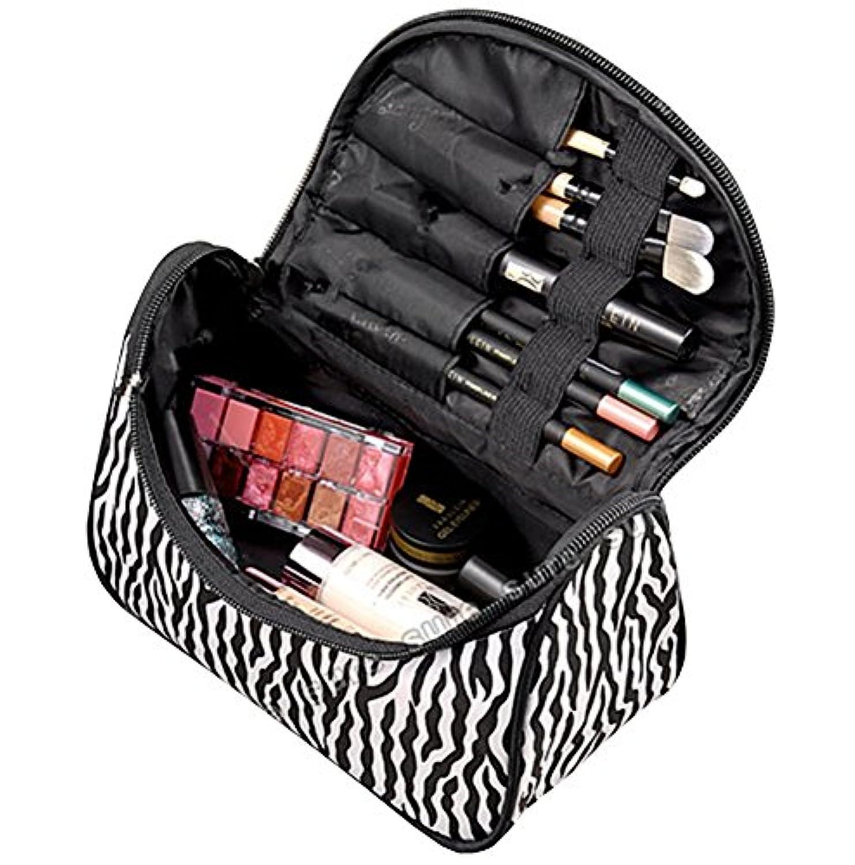 レディース化粧バッグ トラベルポーチ 出張旅行用収納袋 防水化粧品袋 ゼブラストライプ
