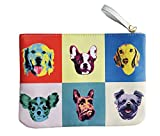 フリンジキュート犬面in Colorful Squaresリストレットコスメティックオーガナイザーバッグ