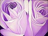 アジアン雑貨 バリアート絵画 L 横 『バラ』 紫