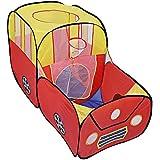 BISZOER 折りたたみ式 子供用 幼児用 ボールピット テント 海 ボール プール 玩具 バスケットボール フープ ファスナー付き 収納バッグ 幼児用 屋内 屋外 遊び (ボールは含まれません) レッド BSZ-HQ-186555901