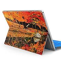 Surface pro6 pro2017 pro4 専用スキンシール サーフェス ノートブック ノートパソコン カバー ケース フィルム ステッカー アクセサリー 保護 写真・風景 写真 秋 紅葉 川 008505