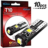 Yorkim 194 Led Bulb Canbus Error Free 3-SMD 2835 Chipsets, T10 Interior Led For Car Dome Map Door Courtesy License Plate Trunk lights with W5W 2825 194 168 Sockets Pack of 10, White