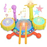 ロリートイ ジャズドラム マジックドラム 楽器 おもちゃ 光る 音声 音楽 マイク 音楽おもちゃ