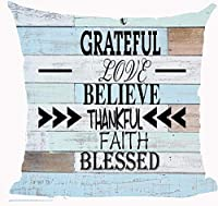 枕カバー おかしい引用感謝する愛を信じる感謝する信仰祝福されたレトロな木目枕カバークッションケースホーム 45 x 45 cm