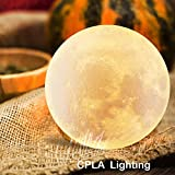CPLA 3d Printing Moon Lamp Night Light Touch Control Dimmable Warm And Cool White,Rechargeable 4.7inch Bedroom Decorative Light With Wooden Base And USB Charger, Gift For Anniversary Kids