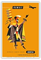 ハワイ - カンタス航空 - ロイヤル・ハワイアン・アリイ - ビンテージなハワイの旅行のポスター によって作成された ハリー・ロジャース c.1960 - アートポスター - 33cm x 48cm