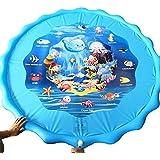 子供のためのスプラッシュプレイマット、63インチの振りかけるとスプラッシュウォータープレイマット、子供のための夏のスプレー水マット夏スプラッシュパーティーのおもちゃ屋外の家族の活動、青