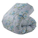 東京西川 羽毛布団 シングル ホワイトダックダウン85% 日本製 抗菌防臭 花柄 ブルー KA06002058A2