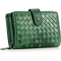 [コンタクトズ]Contacts女性のミディアムラムスキンニット財布手作りの織り二つに折り多機能財布