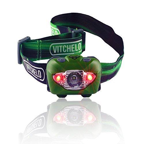 最高明度のLEDヘッドランプ懐中電灯+レッドライト(夜のランニング、ハンティング、釣り、キャンプ、読書、ジョギング、ウォーキングに最適)─防水、同梱の電池長持ち、調整可能ビーム、素晴らしい耐久性、軽量、使用簡単、無期限保証、60日間返金保証+無料ボーナス付き! (Green)