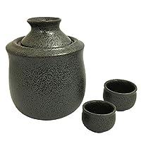 結彩の蔵 酒器セット(310cc) 黒結晶 ト279-696,716