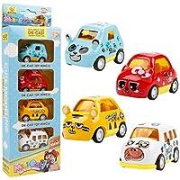 YRRTVV プルバックカー 4パック 合金カートン アニマルミニプルバック車両 ネコ パンダ タイガー カウ パーティーの記念品 子供用 男の子 女の子 プルバック 車 おもちゃのプレイセット