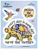"""Dan Morris - Save The Turtles Earth Day ステッカー Sticker Decal - 6"""" x 8"""" - Skateboard Vinyl DieCut - Weather Resistant, Long Lasting for Any Surface"""