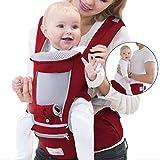 Peacoco 抱っこ紐 ヒップシート ベビーキャリア 赤ちゃん 抱っこひも 新生児から 18ヶ月使える 通気メッシュ 四季兼用 男女兼用 対面抱っこ 前向き抱っこ 横抱っこ おんぶ可 5WAY 疲れにくい腰ベルト 装着簡単 出産祝い ヒップシートキャリア レット