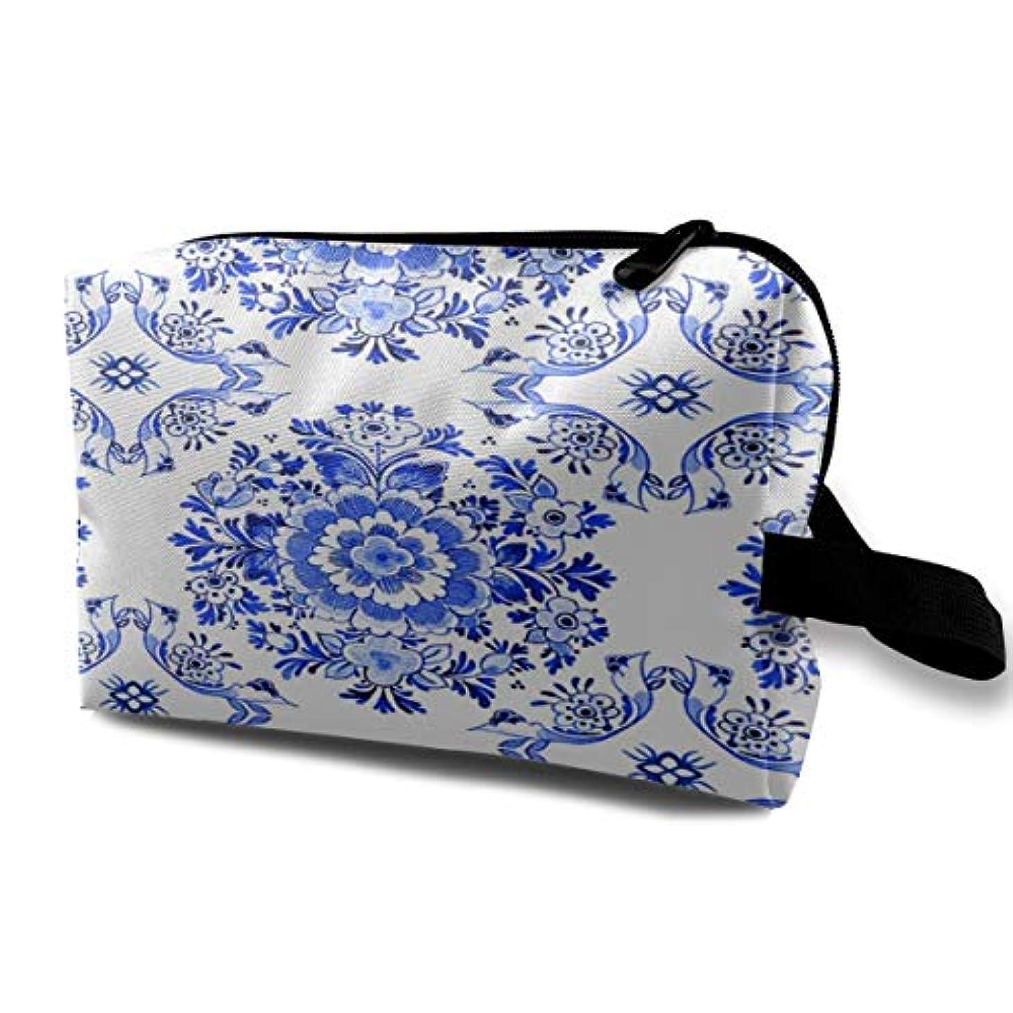 強いますキルトかなりのWhite Delft Blue Style Watercolour 収納ポーチ 化粧ポーチ 大容量 軽量 耐久性 ハンドル付持ち運び便利。入れ 自宅?出張?旅行?アウトドア撮影などに対応。メンズ レディース トラベルグッズ