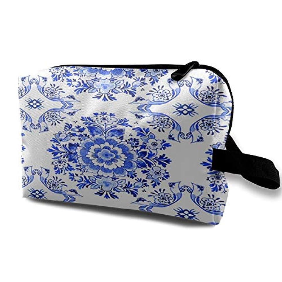 拮抗する揃える不要White Delft Blue Style Watercolour 収納ポーチ 化粧ポーチ 大容量 軽量 耐久性 ハンドル付持ち運び便利。入れ 自宅?出張?旅行?アウトドア撮影などに対応。メンズ レディース トラベルグッズ