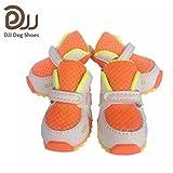 【DJJ】独特なデザイン 人用靴と同レベルの高品質を持ち ドッグシューズ ドッグブーツ ペット用品 犬用靴 犬靴 多彩 前後4足セット (50, オレンジ)