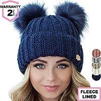 96362b8e740 Braxton Beanie Women - 2 Pom Ears Cable Knit Winter Warm Fleece Hat - Wool  Snow
