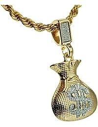 Cash Money Bag Sand Blastペンダントドル記号$ゴールドトーンヒップホップロープチェーン24インチネックレス