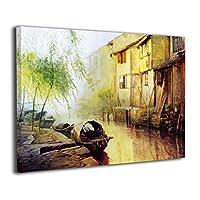 水郷キャンバス絵画 モダン絵画 油絵 装飾画 現代絵画 写真 アートパネル 壁飾り 壁掛け 風景 自然 動植物 玄関 木製の枠 贈り物 40*50cm