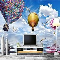 Ansyny カスタム3Dポスター壁紙新しいデザイン熱気球青い空と白い雲リビングルームの寝室の壁の装飾壁画壁紙-260X175CM