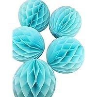 10個セット 15cm カラーペーパーハニカムボール 誕生日 結婚式 ウェディング 飾り付け (みずいろ)