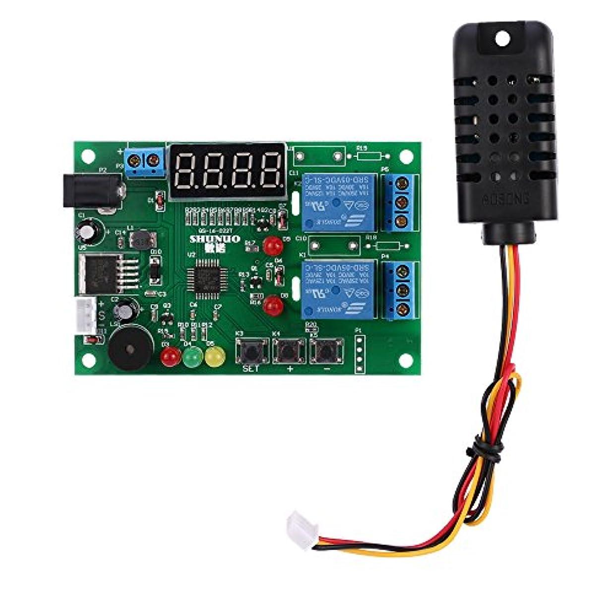 不愉快ダンスサミットWunes - LEDインジケータアラーム機能付きDC 5V~24Vデジタルインテリジェント温度&湿度コントローラの制御ボードモジュールリレー