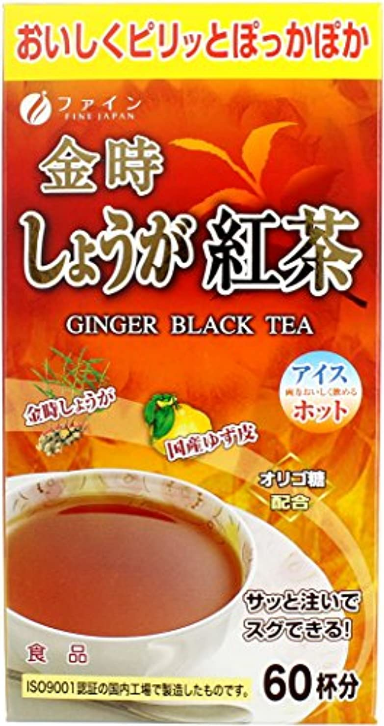 くさび退却うなり声ファイン 金時しょうが紅茶 60杯分 ゆず皮粉末 オリゴ糖 配合