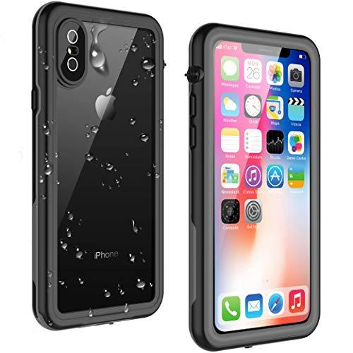 VAPESOON iPhone X/iPhone Xs 防水ケース 耐衝撃 防塵 超薄型 IP68 無線充電 フェイスID認証(グレー&黒)