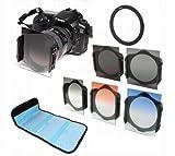 【melpe】カメラ レンズ フィルター システム セット ND2 4 8フィルター 、 グラデーション3色フィルタ、(青、橙、灰) 3枚装着ホルダー 49mm~82mmまでの 9種類アダプター 綺麗撮り 鮮やか 鮮明