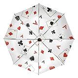VAWA 日傘 折りたたみ 軽量 自動開閉 遮光 遮熱 UVカット 面白い トランプ柄 ポ—カ— 3段折 折りたたみ傘 ワンタッチ 晴雨兼用 収納ポーチ付き