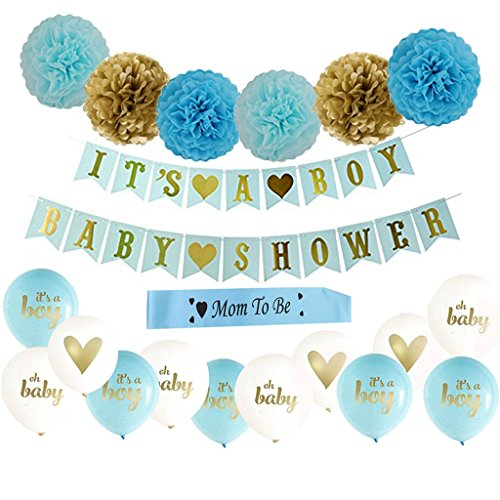 MOM TO BE IT 's A Boyベビーシャワーパーティー装飾セットwith Paper Pom Pomsバナーバルーンブルー23pcs