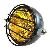 〈布袋尊〉バイク 汎用 ヘッドライト 130mm イエローレンズ ヘッドライトガード付属