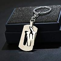 Dalino ファッションとパーソナリティー 分離可能 イングリッシュアルファベット Wペンダント 合金 キーリング ハンドバッグ キーチェーン ギフト (シルバー)