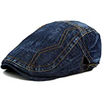 2020 Women Simple Beret Cap Spring Summer Male Wash Old Cowboy Hat Fashion Casual Soft Decoration Women Universal Duck Tongue Beret Newspaper Boy Retro Hat (Color : Dark Denim Blue, Size : 56-58cm)