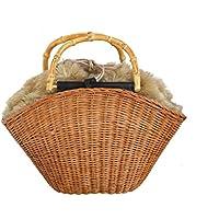 The Bagmati(バグマティ) ウィッカー×フェイクファー冬のカゴバッグ
