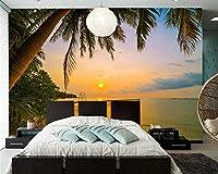 Yosot サンライズとサンセットコーストパームスビーチ自然 3d の壁紙に設定するには、リビングルームのテレビのソファーの背景キッチンカスタムの壁画があります。-400cmx280cm