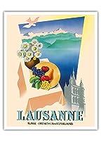 ローザンヌ、スイス - フランス語スイス - ローザンヌ大聖堂 - ジュネーブ湖 - ビンテージな世界旅行のポスター によって作成された ジャン・ワルサー c.1940s - アートポスター - 41cm x 51cm