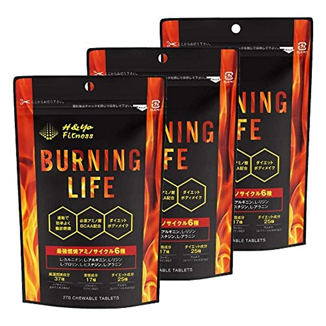 思いやりトラクターホームBURNING LIFE 燃焼系ダイエットサプリ L-カルニチン 必須アミノ酸BCAA配合 運動時の燃焼を強力サポート 270粒 (3か月分)