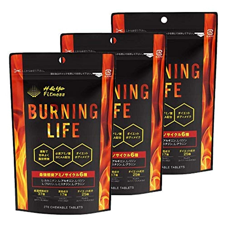断言するバイソン不毛BURNING LIFE 燃焼系ダイエットサプリ L-カルニチン 必須アミノ酸BCAA配合 運動時の燃焼を強力サポート 270粒 (3か月分)