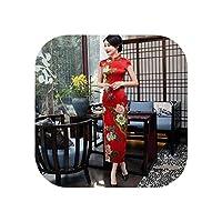 サテンチャイナドレスロング印刷花チャイナドレス夏中国風チーパオ黄色の女性服、赤、Xl
