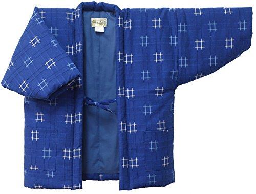 久留米ドビー織柄子供用はんてん (120サイズ, 青-blue-)