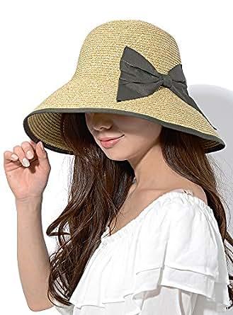 ナチュラル×カーキ F (ディーループ)D-LOOP 紫外線対策 カプリーヌ ハット リボン 付き 女優帽 中折れ つば広 日よけ レディース ハット 無地 かわいい おしゃれ 日除け 中折ハット ペーパーハット ストロー 麦わら 120014-010-947