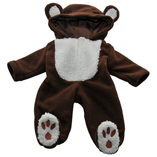 パジャマ 15インチ American Girl® Bitty Baby & Bitty Twins用 テディベアの着ぐるみパジャマ ロンパーコスチューム 柔らかベルコクロージャが付いた柔らかいフリース生地で出来ています。再利用可能な洋服カバーおよびハンガーが付き、安全性が試験済みの梱包で配送します。