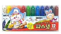 Amos Pasnet Premium Non-toxic Silky Color Crayon 12 Colors [並行輸入品]