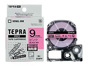 キングジム テープカートリッジ テプラPRO 強粘着 9mm ピンク SC9PW